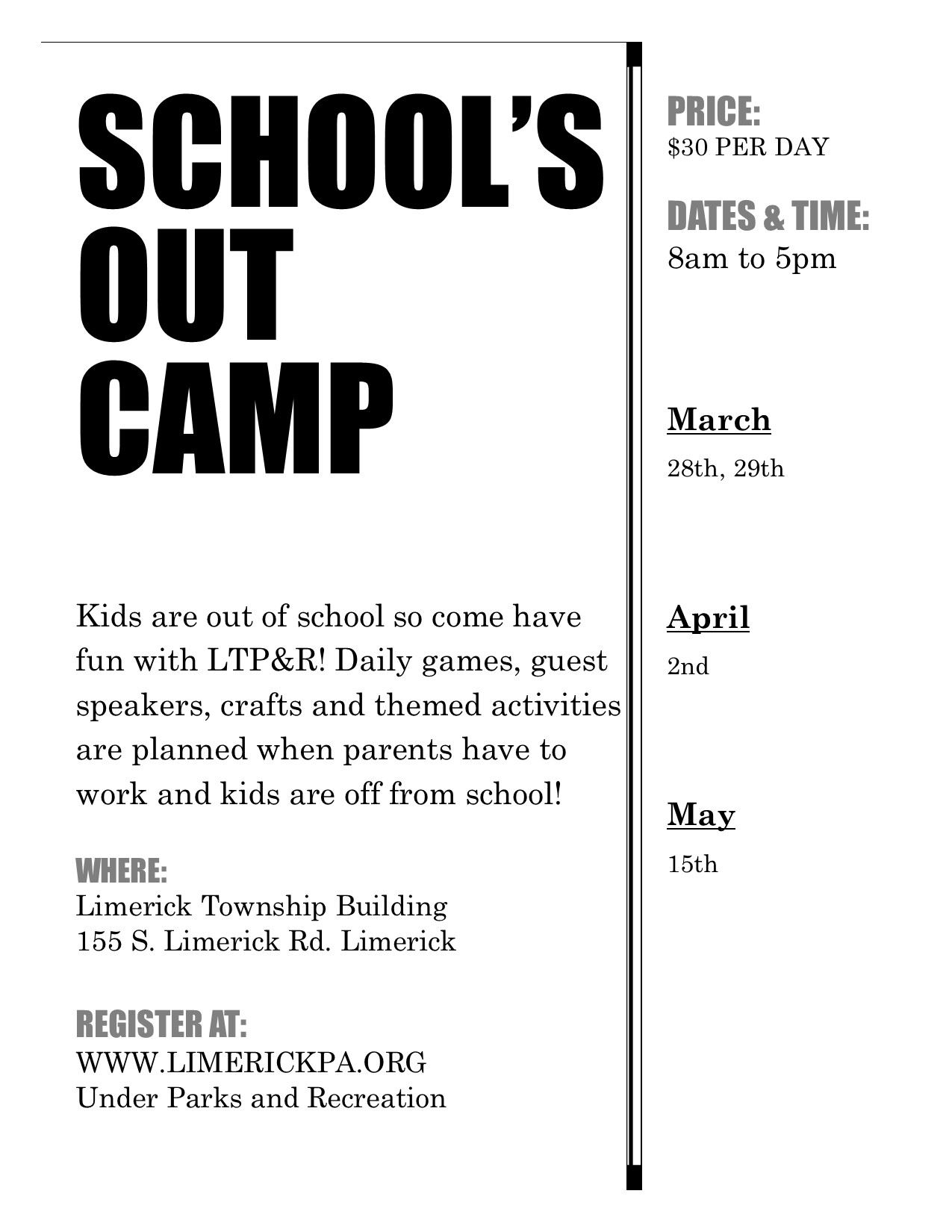 Schools Out Camp UPDATED