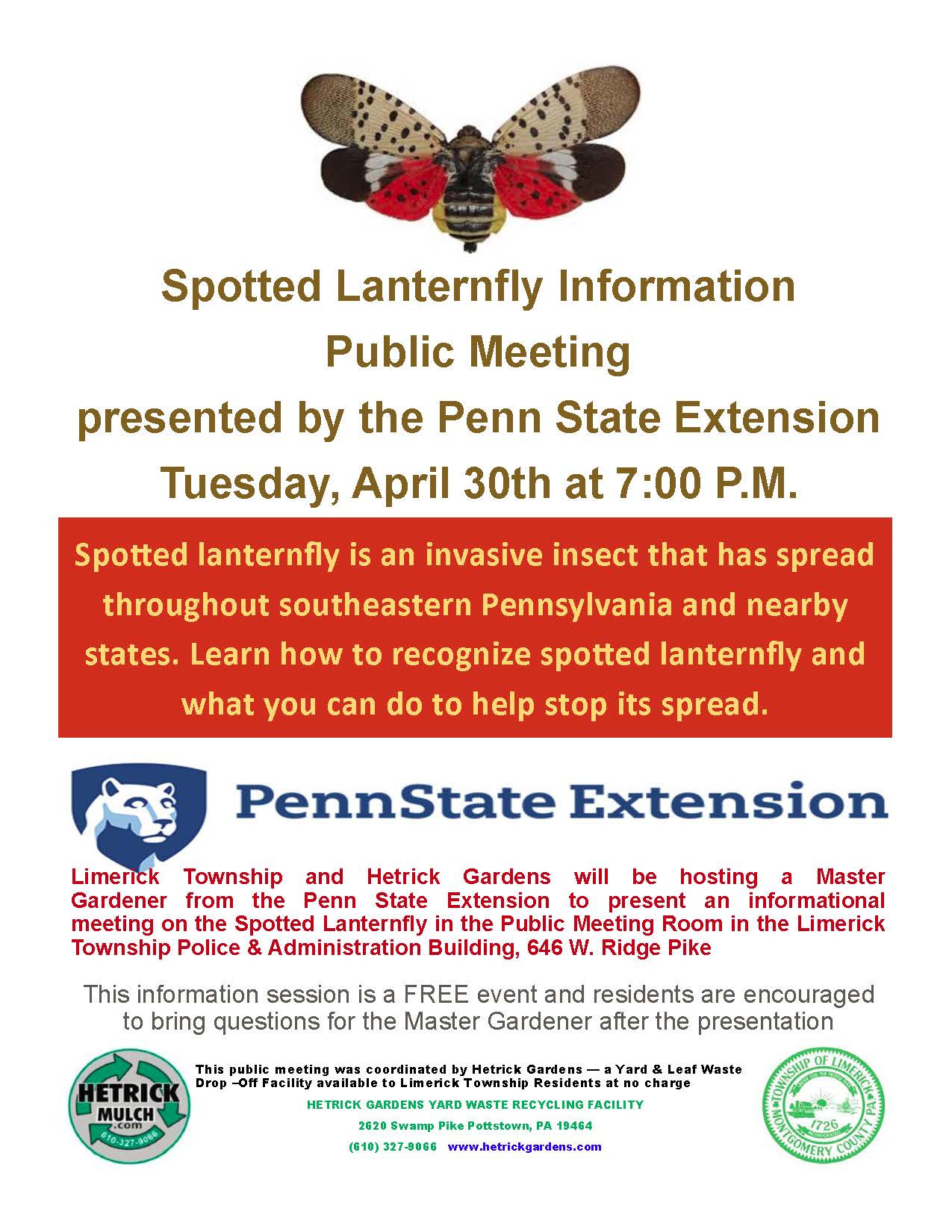 Spotted Lanternfly April 30th Meeting Flyer