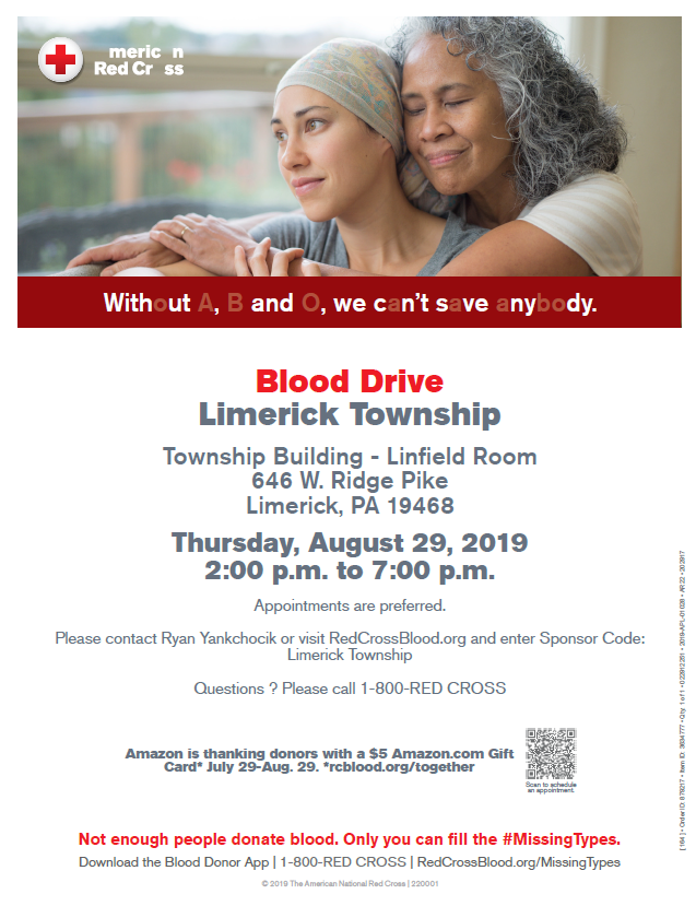 August 2019 Blood Drive Flyer