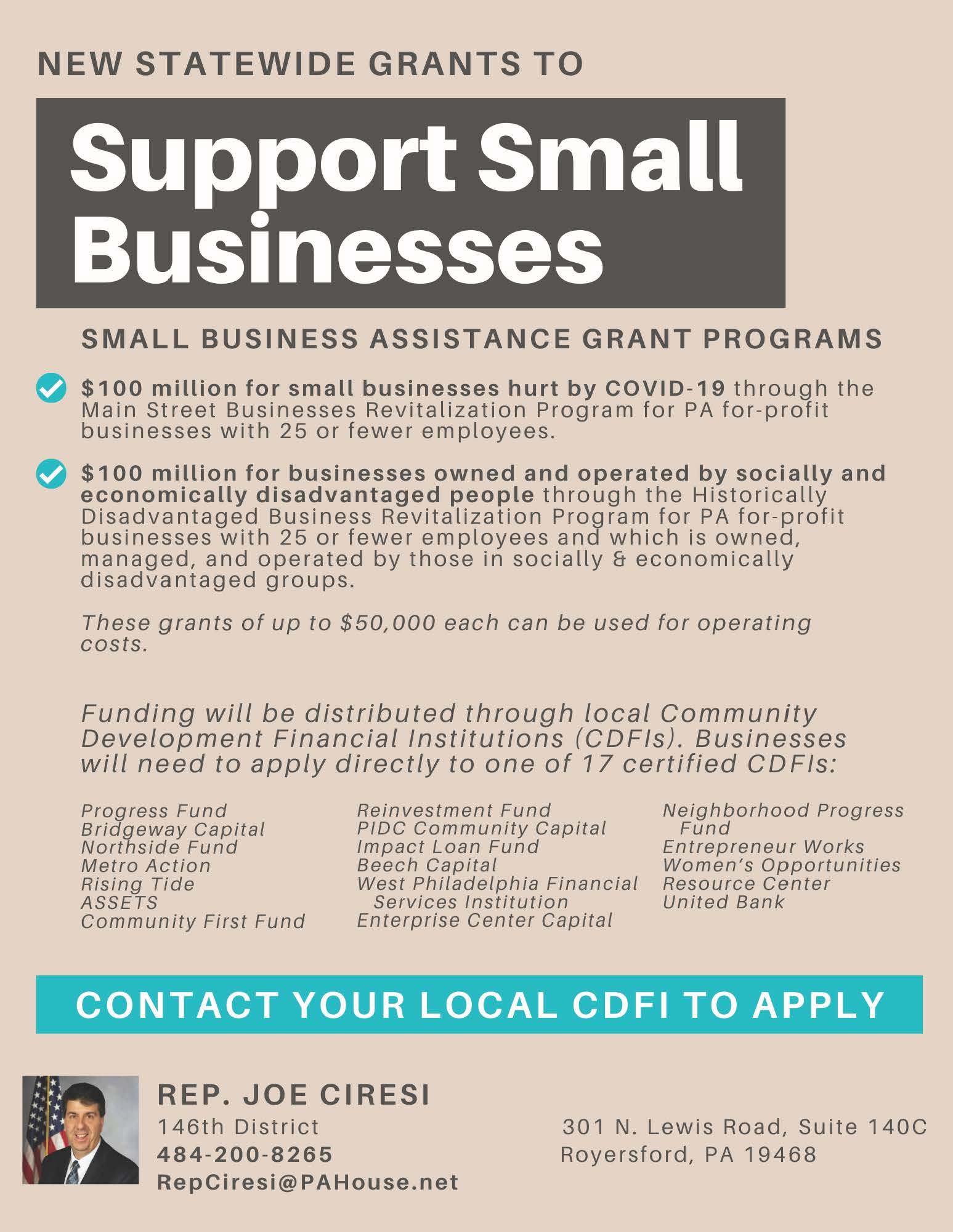 JOE CIRESI - Grants to support small businesses