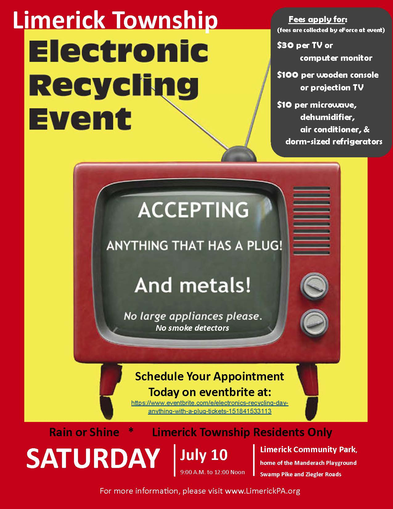 Electronics Recycling Event Flyer - July 10, 2021